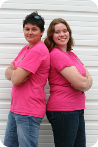 Pink Ladies: Christina and Annika are the gardening duo at Peterson Lawn Services